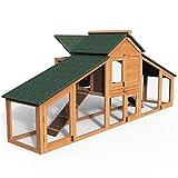 VOUNOT Hühnerstall mit Auslauf, Hühnerhaus Klein, Hühnervoliere Holz, Geflügelstall, ca. 210 x 85 x 85 cm