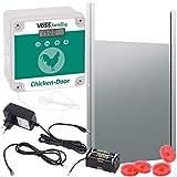 VOSS.farming Set Chicken-Door automatische Hühnertür + Alu Hühnerklappe 300 x 400mm, Türöffnung, Türöffner für Hühnerstall, Hühnerpförtner für Hühnerhaus, mit Lichtsensor