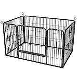FEANDREA Welpenauslauf, Freigehege für Haustiere, 122 x 80 x 70 cm, grau PPK04GY