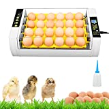 24 Eier Brutmaschine Vollautomatisch Hühner Brutgerät, Intelligent Brutautomat Motorbrüter mit LED Temperatur & Feuchtigkeitsregulierung
