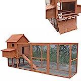 Melko Hühnerstall mit XXL Freigehege Hühnerhaus 310x150x150CM mit 2 Nestboxen Hasenstall mit Rampe und Auslauf
