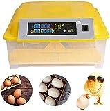 Vollautomatische Inkubator, Brutmaschine für bis zu 48 Hühnereier Brutapparat mit LED und Temperaturanzeige Temperatur Feuchtigkeitsalarm für Eier Enteneier Gänseeier (Gelb)