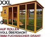 Eggshell Buckingham Hühnerstall mit Laufgehege auf Rollen, schützt vor Füchsen, tragbar, geschweißter/beschichteter 3-mm-Draht, Deckel lässt sich öffnen, mit Nistkasten, für 2-4 Hühner, Größe XXL, 250 cm JETZT MIT VOELLIG UEBERDACHTEN SOMMER/WINNTER STALL