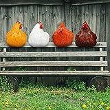 Clip-Leiter Henne Pastoral Huhn,Huhn gartendeko Huhn deko, Harzornamente Garten - Schöne Hühnerstatue Dekoration - Heimtextilien für Zäune / Holzpfähle / und Hühnerhandwerk auf Holzleitern (4pcs)
